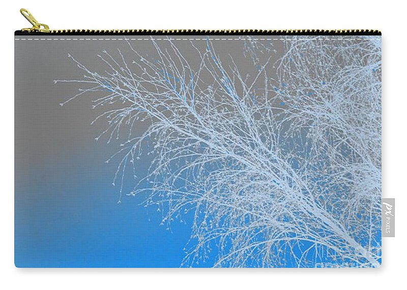 Blue Carry-all Pouch featuring the digital art Blue Branches by Carol Lynch