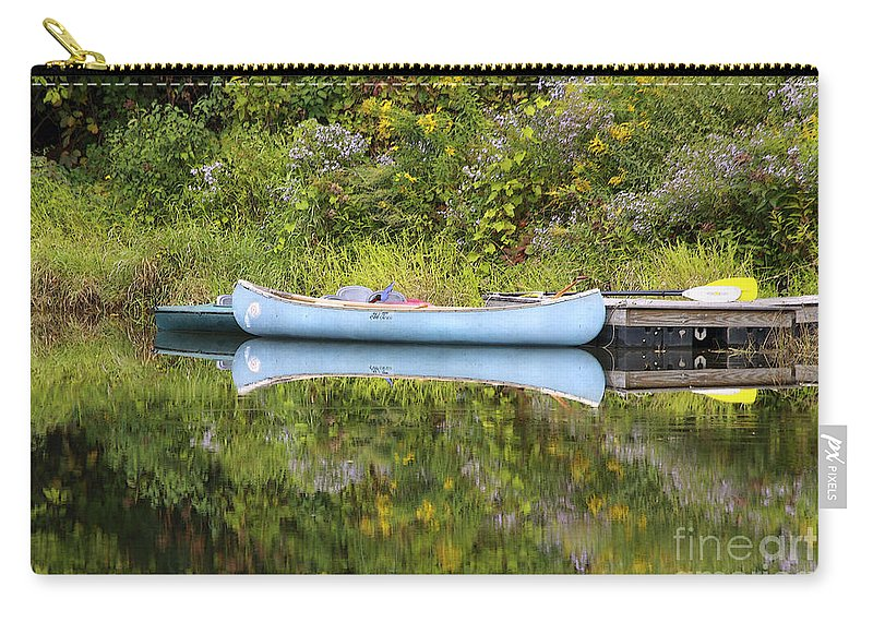 Pond Carry-all Pouch featuring the photograph Blue Canoe by Deborah Benoit