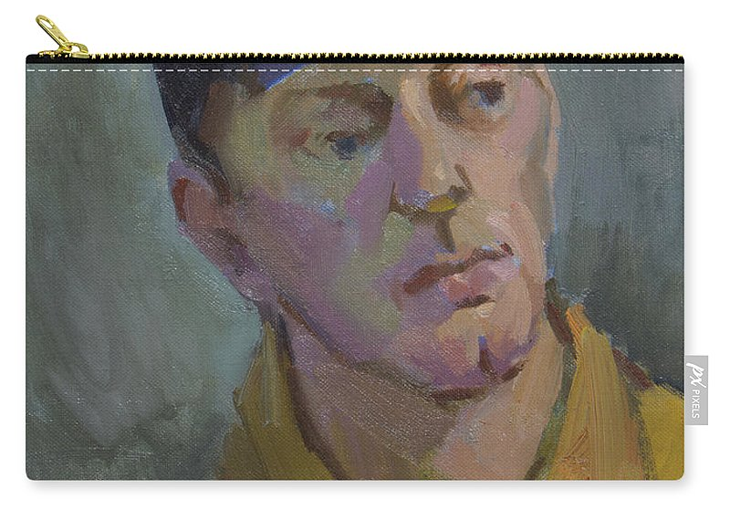 Blue Cap Carry-all Pouch featuring the painting Blue Cap by Diane McClary