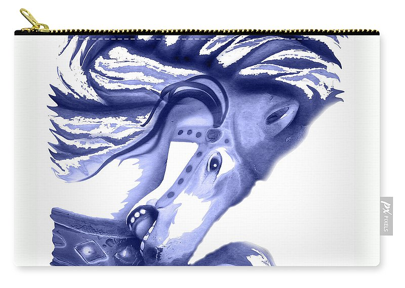 Horse Carry-all Pouch featuring the digital art Blue Carrousel Horse by Joyce Wasser