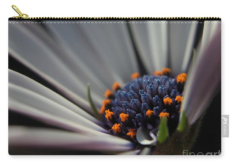 Flower Carry-all Pouch featuring the photograph Blue Center by Kenny Glotfelty
