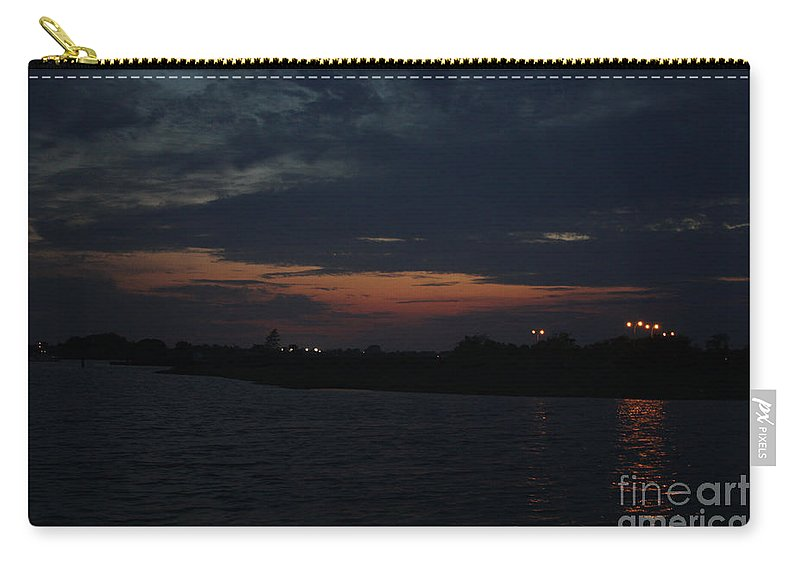 Blue Clouds At Night Over Long Island Carry-all Pouch featuring the photograph Blue Clouds At Night Over Long Island by John Telfer