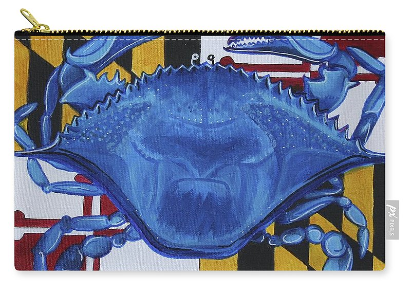 Maryland Carry-all Pouch featuring the painting Blue Crab by Kate Fortin