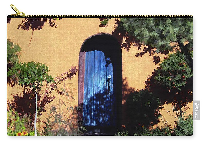 Blue Door Carry-all Pouch featuring the photograph Blue Door At Old Mesilla by Kurt Van Wagner