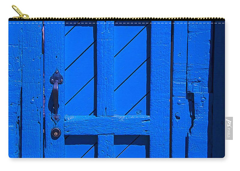 Blue Carry-all Pouch featuring the photograph Blue Door by Garry Gay