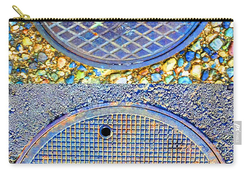 Blue Carry-all Pouch featuring the photograph Blue Drains by Nancy Merkle
