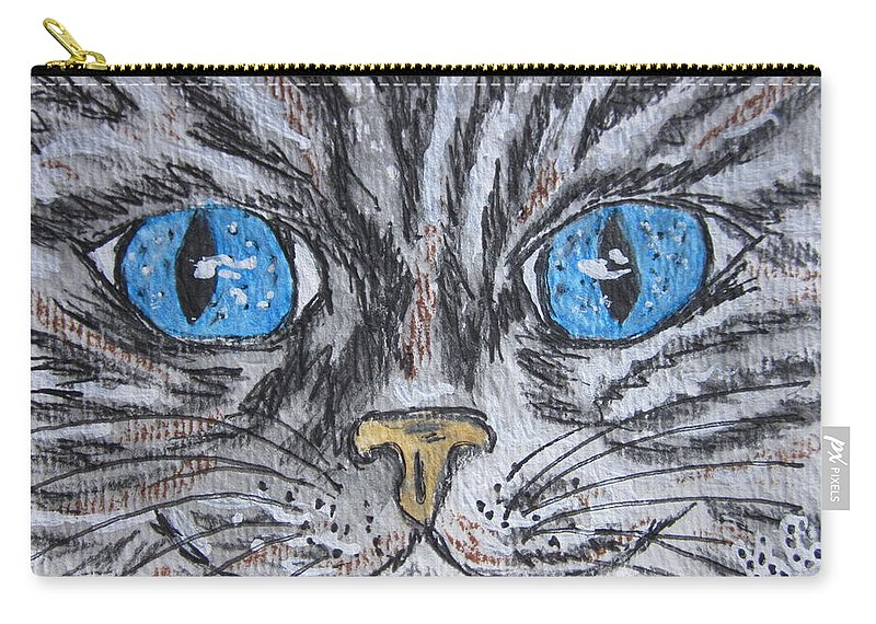 Blue Eyes Carry-all Pouch featuring the painting Blue Eyed Stripped Cat by Kathy Marrs Chandler