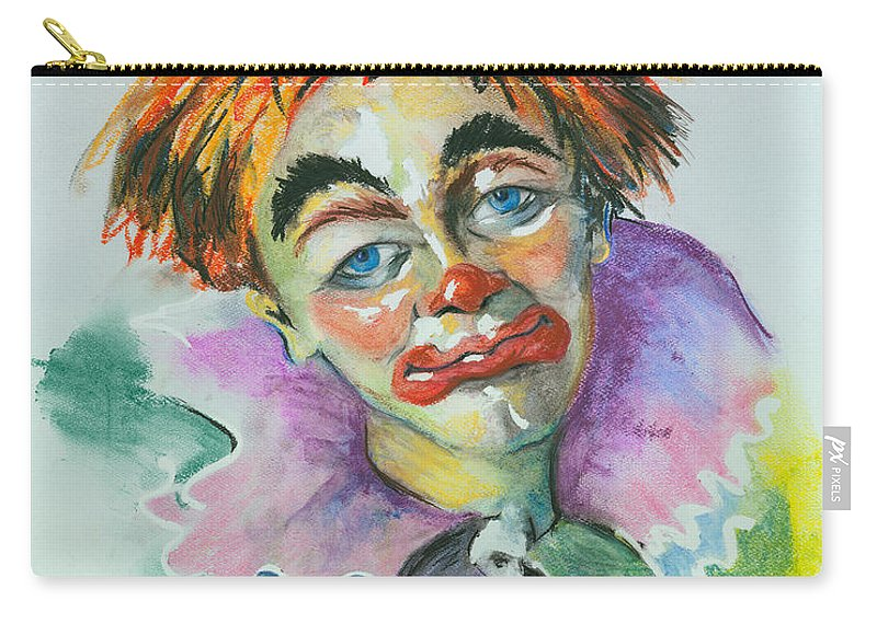 Canvas Print Carry-all Pouch featuring the painting Blue Eyes by Elisabeta Hermann