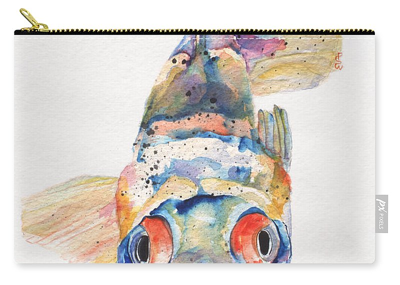 Pat Saunders-white Carry-all Pouch featuring the painting Blue Fish  by Pat Saunders-White