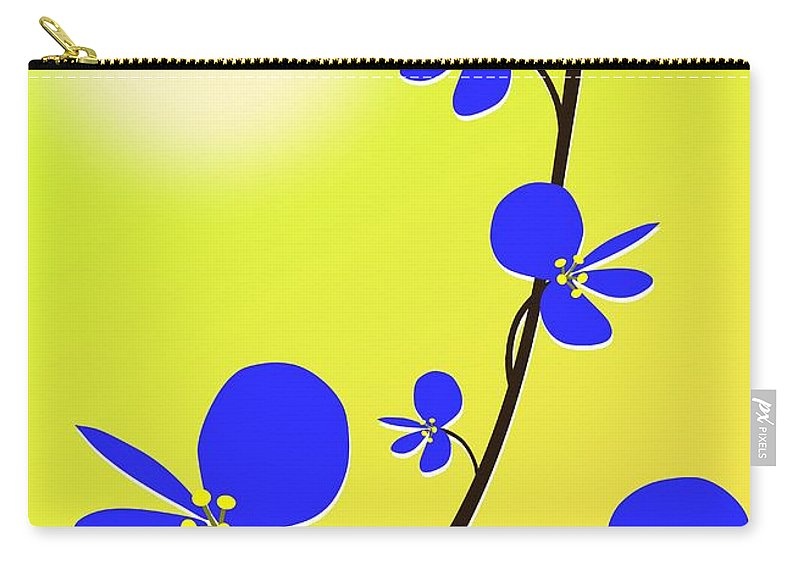 Nature Carry-all Pouch featuring the digital art Blue Flowers by Anastasiya Malakhova