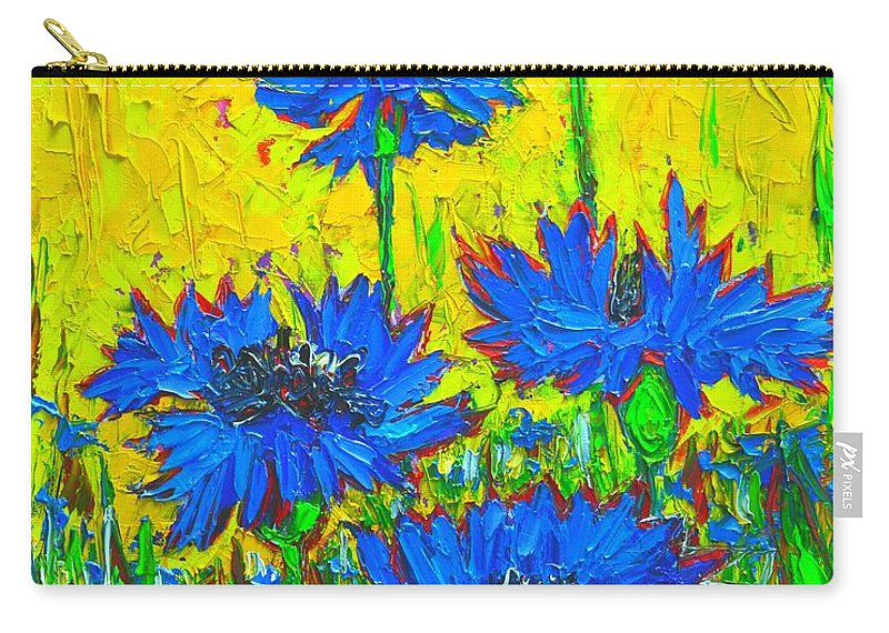 Cornflowers Carry-all Pouch featuring the painting Blue Flowers - Wild Cornflowers In Sunlight by Ana Maria Edulescu