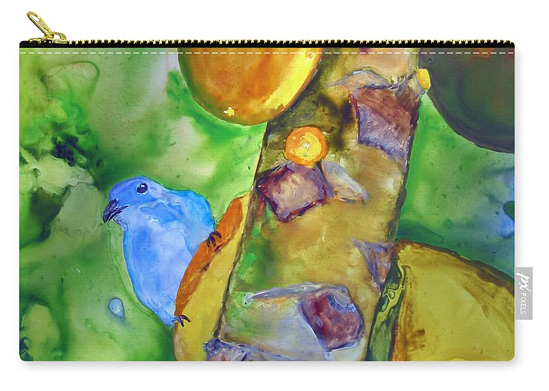 Blue-gray Tanager Carry-all Pouch featuring the painting Blue Gray Tanager by Patricia Beebe