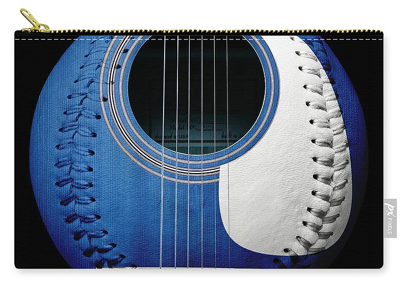 Andee Design Baseball Carry-all Pouch featuring the photograph Blue Guitar Baseball White Laces Square by Andee Design