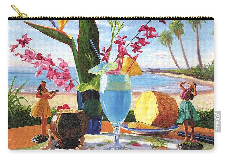 Blue Hawaiian Carry-all Pouch featuring the painting Blue Hawaiian by Steve Simon
