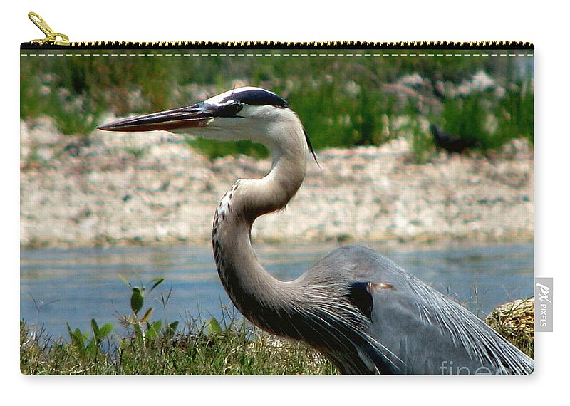 Art For The Wall...patzer Photography Carry-all Pouch featuring the photograph Blue Heron by Greg Patzer