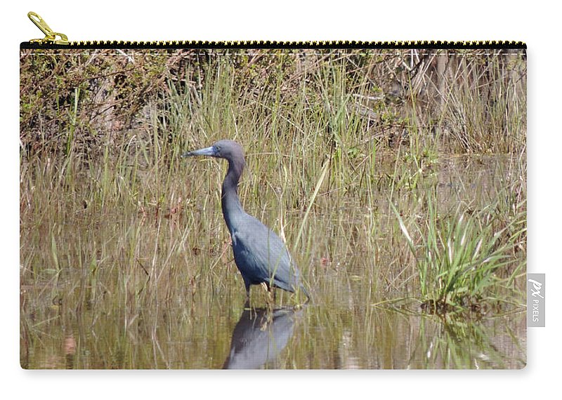 Digital Photography Carry-all Pouch featuring the photograph Blue Heron by Kim Pate