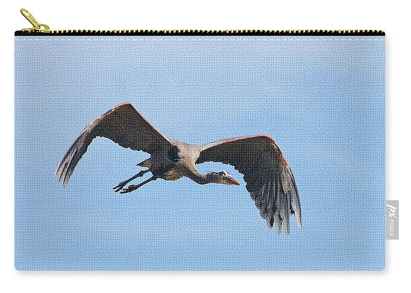 Blue Herons Last Fly By Carry-all Pouch featuring the photograph Blue Herons Last Fly By by Tom Janca