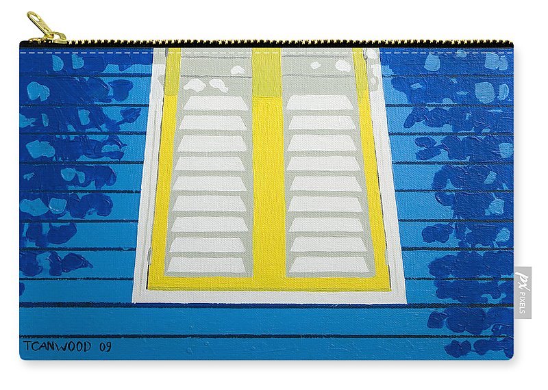 Caribbean House Architecture Sun Painting Blue Curacao Aruba Antilles Carry-all Pouch featuring the painting Blue House by Trudie Canwood