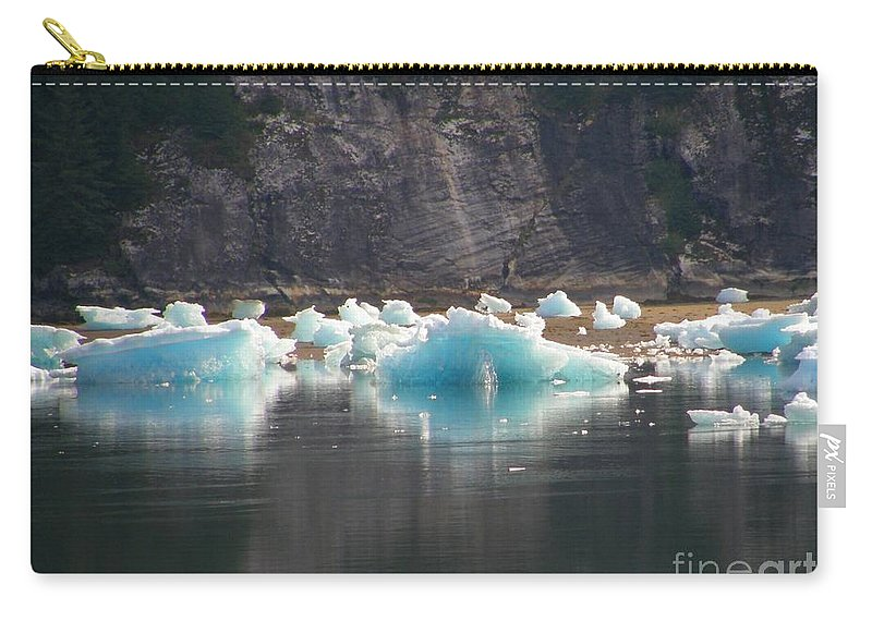 Blue Carry-all Pouch featuring the photograph Blue Ice Flows by Bev Conover