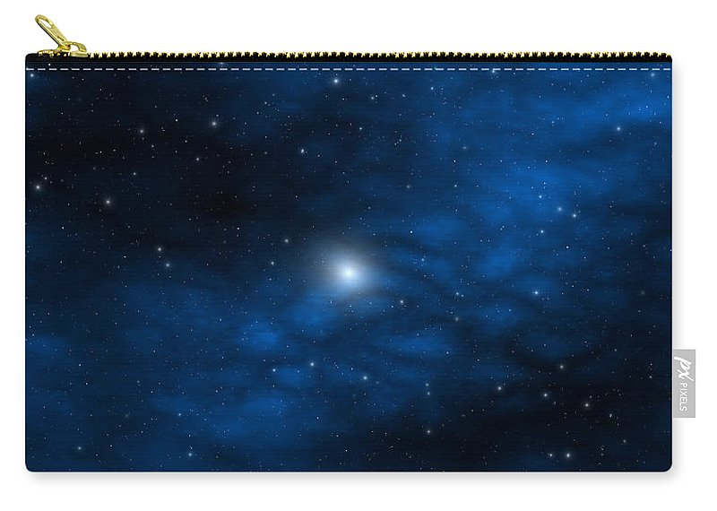 Space Carry-all Pouch featuring the digital art Blue Interstellar Gas by Robert aka Bobby Ray Howle