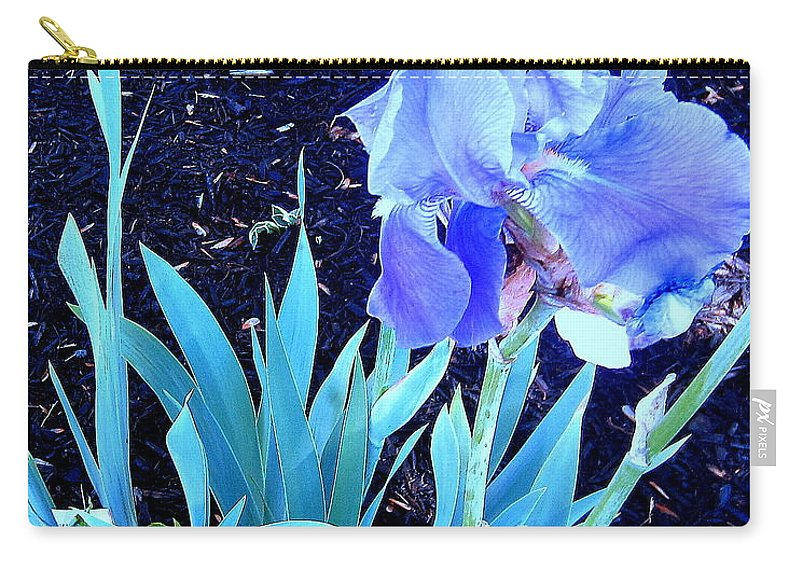 Flowers Carry-all Pouch featuring the photograph Blue Iris by Lillian Hibiscus