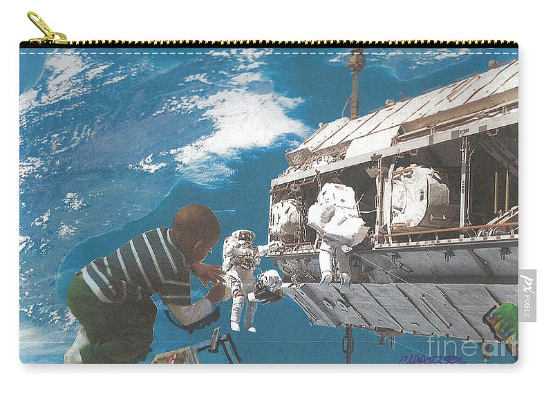Boy Carry-all Pouch featuring the mixed media Blue Is My World by Charles M Williams