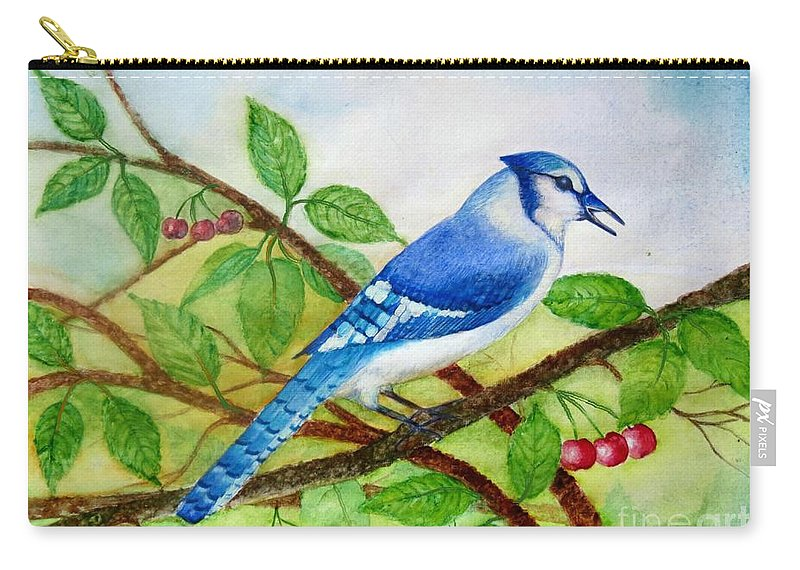 Blue Jay Watercolor Carry-all Pouch featuring the painting Blue Jay by Anjali Vaidya