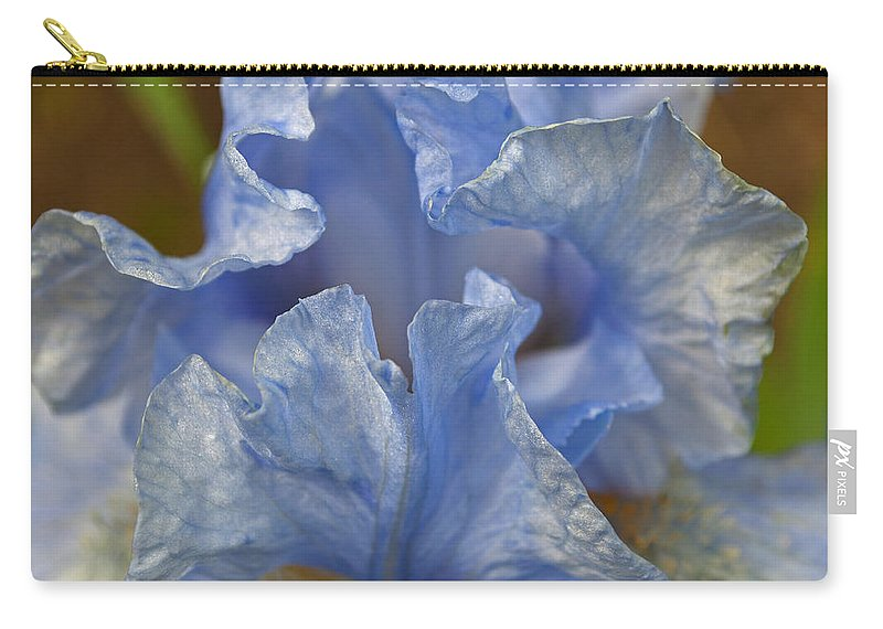 Blue Lilac Iris Carry-all Pouch featuring the photograph Blue Lilac Iris by Tikvah's Hope