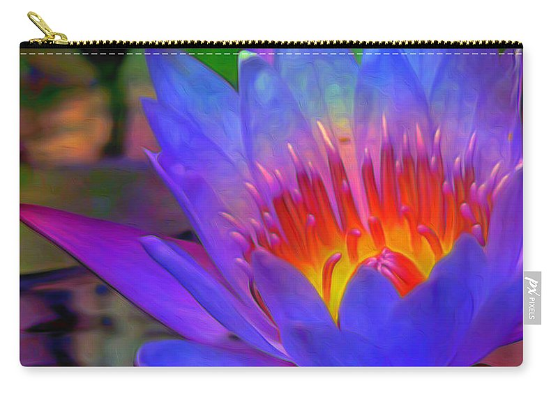 Blue Lotus Carry-all Pouch featuring the painting Blue Lotus by Fli Art