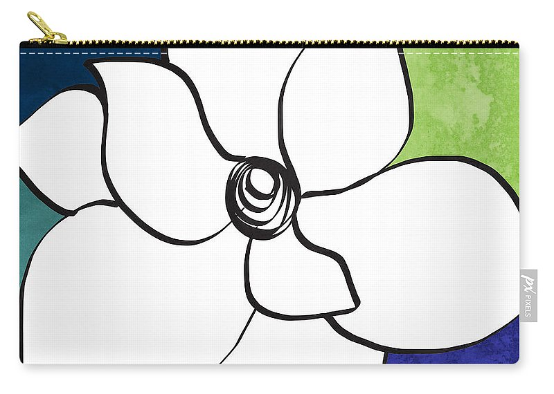 Magnolia Carry-all Pouch featuring the painting Blue Magnolia 2- Floral Art by Linda Woods