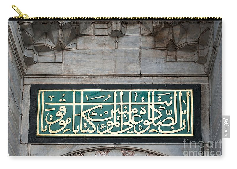 Istanbul Carry-all Pouch featuring the photograph Blue Mosque Calligraphy by Rick Piper Photography
