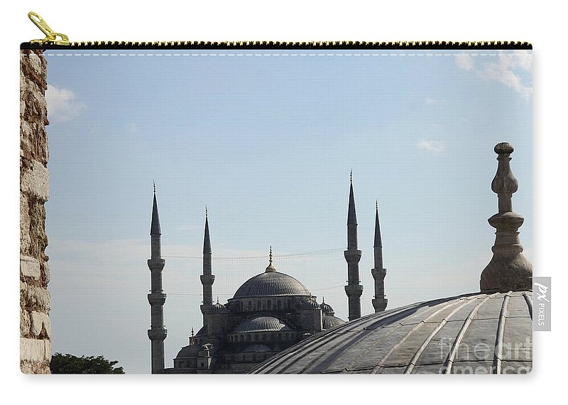 Sultan Ahmet Mosque Carry-all Pouch featuring the photograph Blue Mosque Dome Behind Hagia Sophia Dome by Christiane Schulze Art And Photography