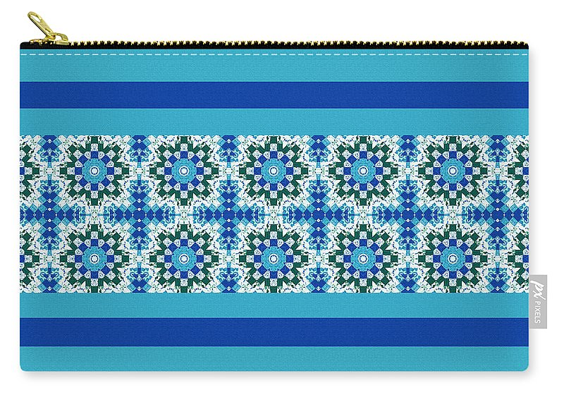 Blue Patchwork 2 Carry-all Pouch featuring the digital art Blue Patchwork 2 by Barbara Griffin