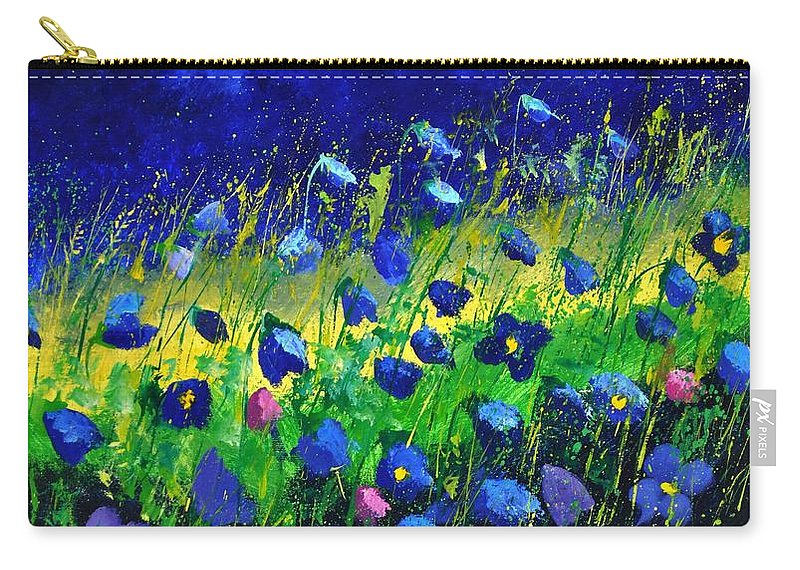 Landscape Carry-all Pouch featuring the painting Blue poppies 674190 by Pol Ledent