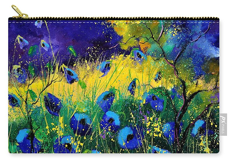 Landscape Carry-all Pouch featuring the painting Blue poppies 7741 by Pol Ledent