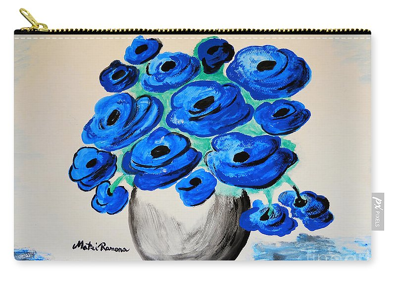 Poppies Carry-all Pouch featuring the painting Blue Poppies by Ramona Matei