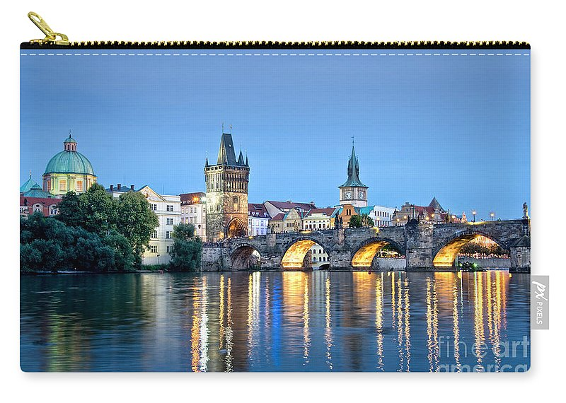 Prague Carry-all Pouch featuring the photograph Blue Prague by Delphimages Photo Creations