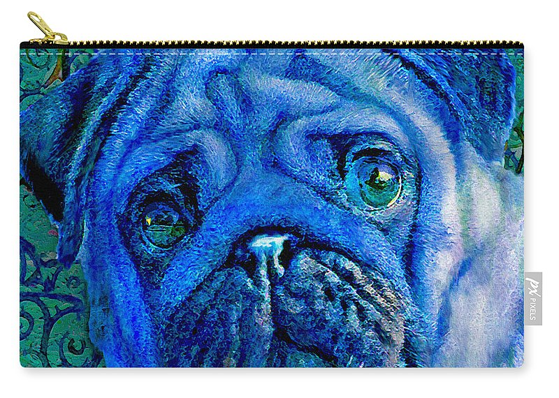 Pug Carry-all Pouch featuring the digital art Blue Pug by Jane Schnetlage