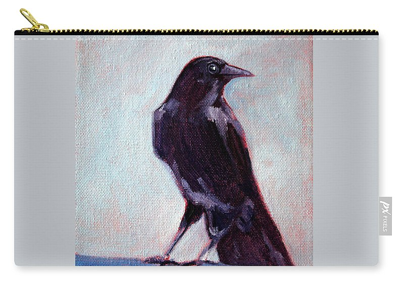 Raven Carry-all Pouch featuring the painting Blue Raven by Nancy Merkle