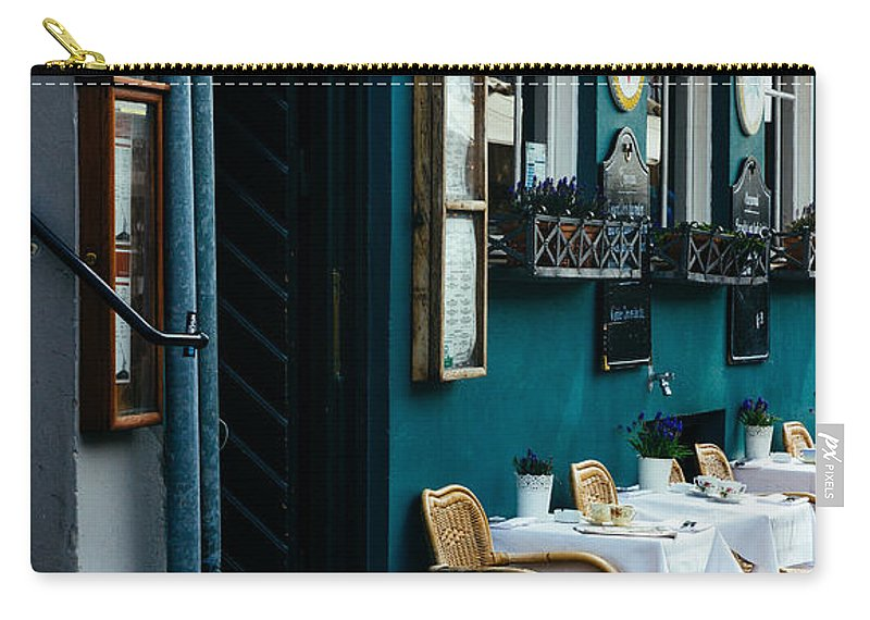 Blue Carry-all Pouch featuring the photograph Blue Restaurant by Patrycja Polechonska