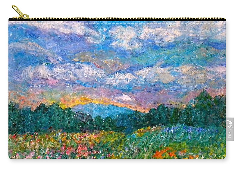 Landscape Carry-all Pouch featuring the painting Blue Ridge Wildflowers by Kendall Kessler