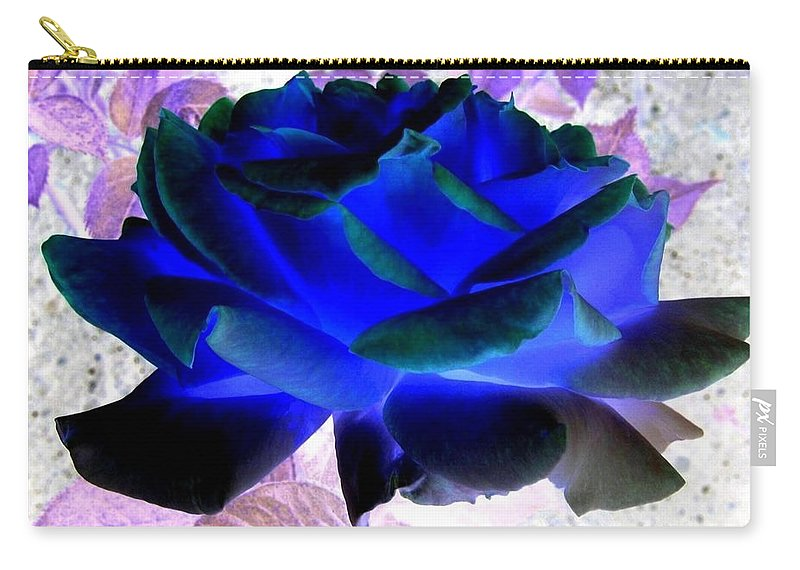Blue Rose Carry-all Pouch featuring the digital art Blue Rose by Will Borden