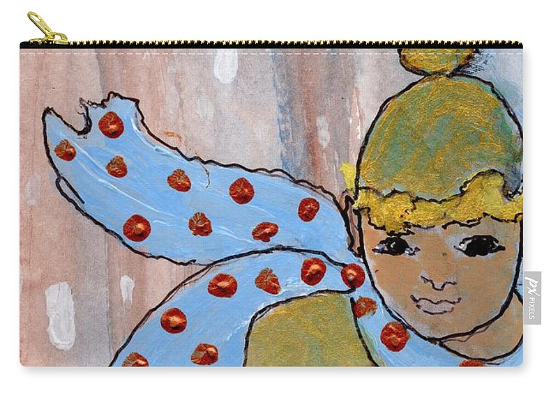 Blue Scarf Carry-all Pouch featuring the painting Blue Scarf by Patsy Stanley