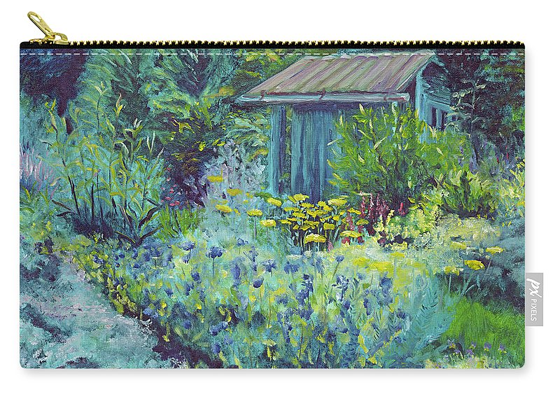 Blue Carry-all Pouch featuring the painting Blue Shed by Susan Hanna