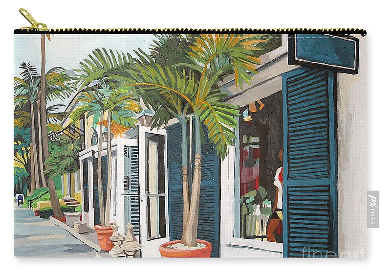 Cityscape Carry-all Pouch featuring the painting Blue Shutters by Melinda Patrick