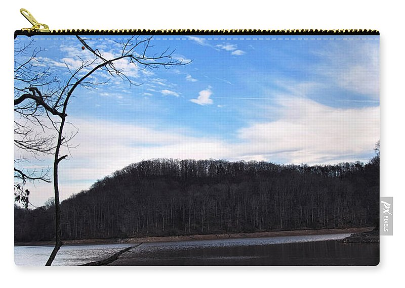 Landscape Carry-all Pouch featuring the digital art Blue Skies Over Beech Fork Lake by Chris Flees