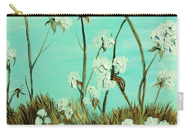 Blue Carry-all Pouch featuring the painting Blue Skies Over Cotton by Eloise Schneider Mote
