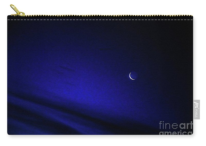 Blue Early Morning Sky Carry-all Pouch featuring the photograph Blue Sliver Moon by Andee Design