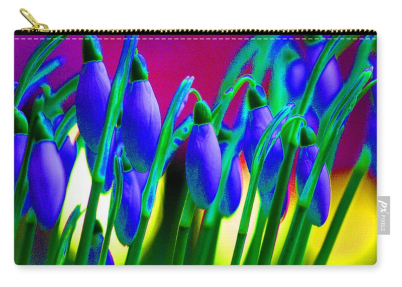 Blue Carry-all Pouch featuring the digital art Blue Snowdrops by Carol Lynch