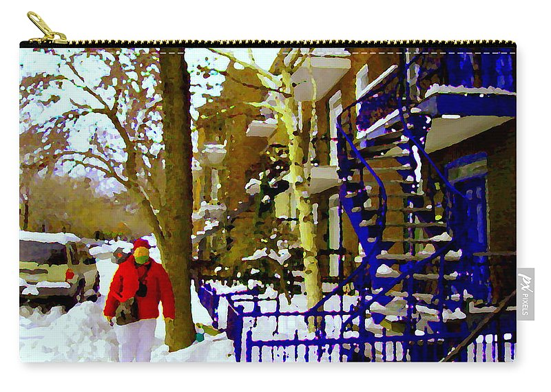 Montreal Carry-all Pouch featuring the painting Blue Snowy Staircase And Birch Tree Montreal Winter City Scene Quebec Artist Carole Spandau by Carole Spandau